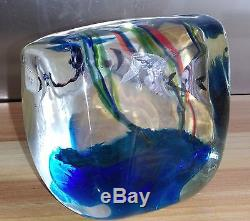 ANCIEN PRESSE-PAPIERS MURANO POISSONS GLASS made in Italy vers 1980 DESIGN