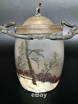 ANCIEN SEAU A BISCUIT VERRE EMAILLÉ LEGRAS DECORS HIVERNAL NEIGE art nouveau