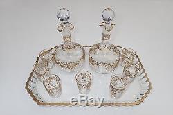 ANCIEN SERVICE A LIQUEUR CRISTAL BACCARAT NAPOLEON III doré à l' or fin