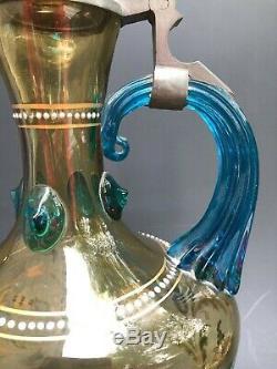 ANCIEN SERVICE A LIQUEUR VERRE ÉMAILLÉ FIN 19ème