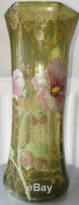 ANCIEN VASE EN VERRE EMAILLÉ LEGRAS art nouveau décors foral fleurs de pivoines