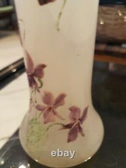 ANCIEN VASE Emaille decor violettes art nouveau