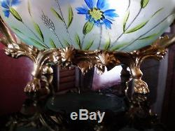 ANCIEN VASE JARDINIERE EMAILLE Legras Montjoye decor floral monture bronze