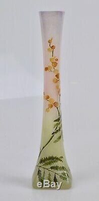ANCIEN VASE LEGRAS DEGAGE A L'ACIDE (décor mimosas)