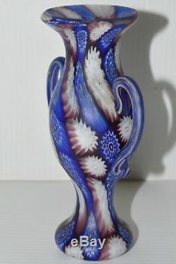 ANCIEN VASE MILLEFIORI MURANO AVEC ANSES Vase à Violettes VINTAGE collection XXe