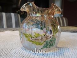 ANCIEN VASE MONTJOYE ou LEGRAS VERRE EMAILLE ANTIQUE GLASS VASE LEGRAS MONTJOYE