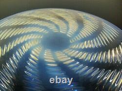 ART DÉCO ANCIENNE GRAND PLAT VERRE MOULE OPALECSENT MODELE ONDES LALIQUE 28cm