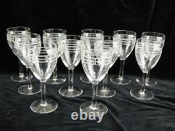 Ancien 11 verres à vin en cristal taillé et gravé- Baccarart