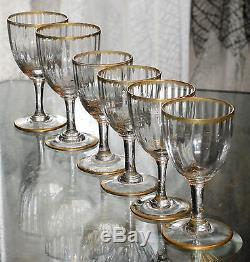 Ancien 4+2 Verres Cristal Epoque Napoleon Legras Daum