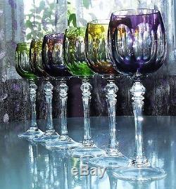 Ancien 6 Verres A Vin En Cristal Double De Couleurs W. M. F. Baccarat St. Lambert