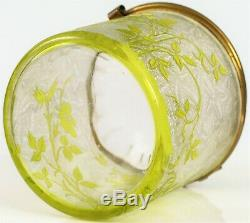 Ancien Baccarat Acide Gravé Jaune Vert Art Verre Eglantier Pot Fin Floral