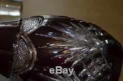 Ancien Carafe Decanter Cristal Taille En Couleur Rubis