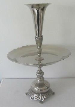Ancien Centre de table et Présentoir Vase Tulipe Cornet epergne metal argenté