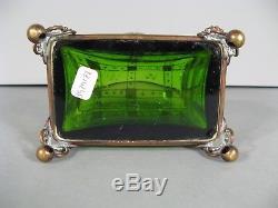 Ancien Coffret A Bijoux Art Nouveau Verre Émaillé Cristallerie Moser Carlsbad