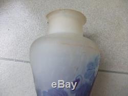 Ancien Et Authentique Vase Galle Pte De Verre Dégage À Lacide Art Nouveau