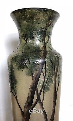 Ancien Et Grand Vase Muller Décor Lacustre