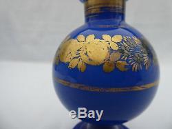 Ancien Flacon A Parfum Opaline Bleue Epoque Charles X Xixe 1820 Dorure France