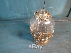 Ancien Flacon Parfum Verre Cristallin Monture Bronze Roses French Antique