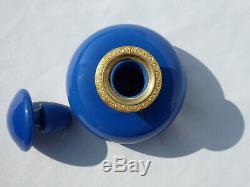 Ancien Flacon à Parfum Opaline Bleue époque Charles X bronze doré XIXe