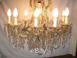 Ancien Grand Lustre Italien En Verre Et Cristal Style Marie-therese /13 Lampes