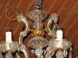 Ancien Grand Lustre Verre Vénitien 6 bras de Lumière Pampilles cristal