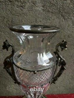 Ancien Grand Vase Medicis, Cristal, Baccarat, Monture Bronze, Napoléon Iii, Xixeme