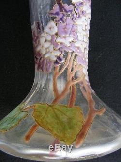 Ancien Grand Vase émaillé branches de Lilas Montjoye Legras opalescent en haut