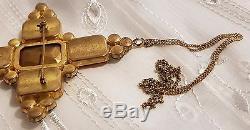 Ancien Imposant Pendentif Croix Broche Verre Ou Cristal Citrine Metal Dore T158