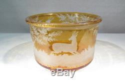 Ancien Joli Cache Pot Coupe En Cristal De Boheme Jaune Or Decor Cervide Vigne