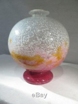 Ancien Joli Gros Vase Boule En Pate De Verre Art Deco Rouge Orange Blanc