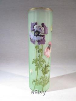 Ancien Joli Vase Emaille De Couleur Vert D'eau Rehausse A L'or 1900 Fleurs