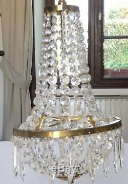 Ancien LUSTRE MONGOLFIERE GIRANDOLE à PAMPILLES verre cristal 4 lumières