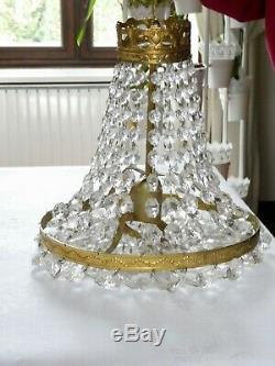 Ancien LUSTRE MONGOLFIERE GIRANDOLE à PAMPILLES verre cristal lumière centrale