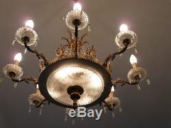 Ancien Lampe Lustre En Cristal Et Verre Annees 50