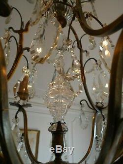 Ancien Lustre Cage 9 Bras Pampilles Cristal/verre Bronze Debut XX Siecle