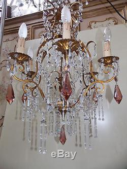 Ancien Lustre En Fer Avec Pampilles En Verre Et Cristal /chandelier/n°fl 29