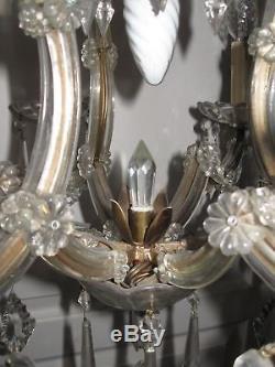 Ancien Lustre Italien En Verre Et Cristal Style Marie-therese 7 Lampes
