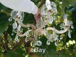 Ancien Lustre Murano verre pampilles cristal fleurs métal doré