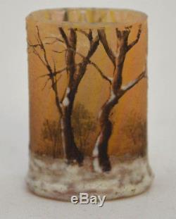 Ancien Mini Vase Daum Enneige En Pate De Verre Art Nouveau 1900