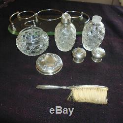 Ancien Necessaire De Toilette Cristal Argent Sur Plateau Flacon Allemand 1900