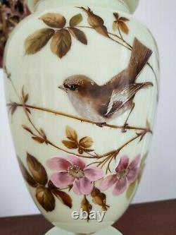 Ancien Pot Couvert Opaline XIX Ème Sur Piédouche À Décor Fleurs Et Oiseau Ht 40