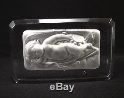 Ancien Presse Papier Bébé en Cristal de Baccarat 1920 Sulfure