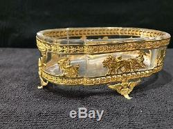 Ancien Ravier, Empire, Cristal, Xixeme, Bronze Dore, Decor Anelot, Putti
