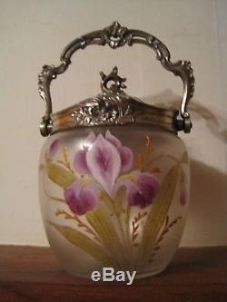 Ancien Seau à biscuits Verre émaillé LEGRAS Fleur Lys monture Rocaille Louis XV