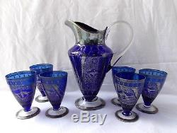 Ancien Service A Eau Carafe Et 6 Verres Murano Emaille Argent Bleu 1950