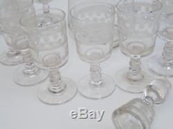 Ancien Service A Liqueur 12 Verres + Carafe Cristal Baccarat Modele Etoile