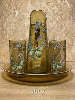 Ancien Service A Orangeade Legras Galle 1900 Emaille Et Dore, Art Nouveau