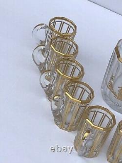 Ancien Service à liqueur en cristal de Baccarat doré à l'or fin XIXème Signé
