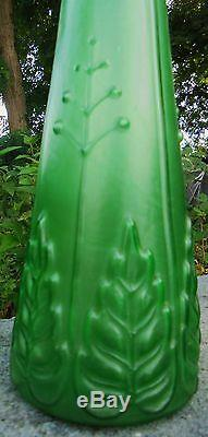 Ancien Vase A Jacinthe En Verre Moulé Vert Et Givre Kralik Loetz 1900/14