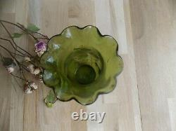 Ancien Vase Art Deco Emaille Non Signe Legras Decor De Fleurs Geranium
